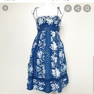 GAP Blue and White Floral Cotton Midi Dress